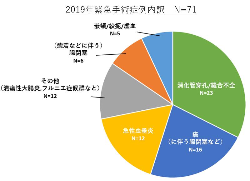2018年緊急手術症例内訳N=63